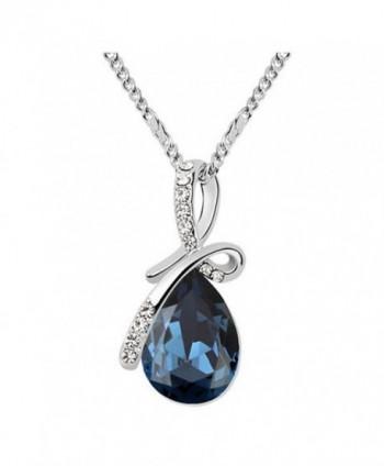 "Sojewe Silver tone Bow Teardrop Pendant Necklace Navy Blue Swarovski Elements Crystal 18"" Chain for Women - CT11ZJRWML1"
