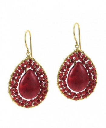 Mosaic Teardrop Reconstructed Red Coral Stone Handmade Brass Earrings - CM11N1ZK247