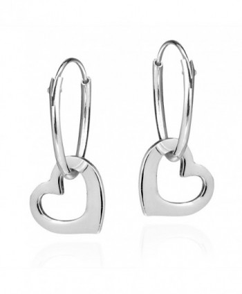 Sweet Love Dangle Heart .925 Sterling Silver Hoop Earrings - C612695Q6PJ