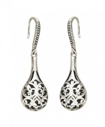EVER FAITH Women's 925 Sterling Silver Bali Inspired Filigree Puffed Raindrop Dangle Hook Earrings - C512LIRMEKT