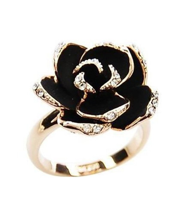 18K Gold Plated CZ Shining Black Rose Flower charm Women Open Adjustable Band Ring - CB1879KUKRA