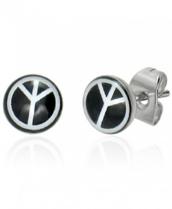 7mm Stainless Steel Peace Sign Black and White Small Stud Earrings - CR11GVWHXSF
