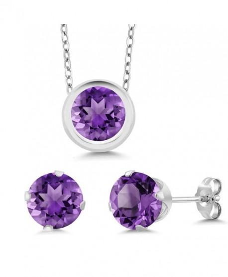 2.25 Ct Round Purple Amethyst 925 Sterling Silver Pendant Earrings Set - CH11DIH4M8F