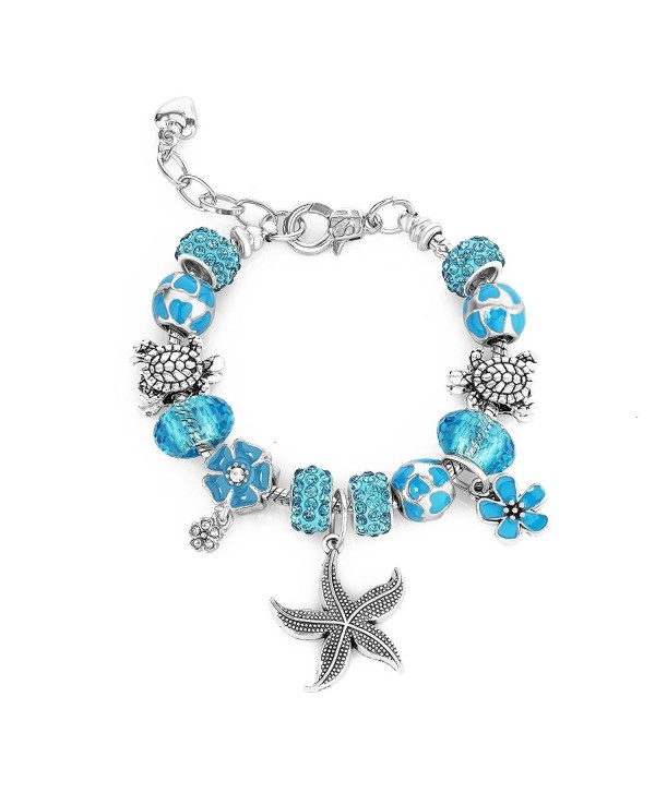 Ocean Blue Beaded Charm Bracelets for Friends Teen Girls Women Gifts Adjustable Fits 6 - 8.5 inch - C31874QYCKE