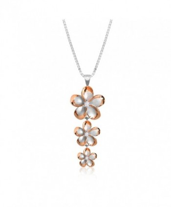 """Sterling Silver with 14k Rose Gold Plated Trim Three Plumeria CZ Necklace with 18"""" Box Chain - CU1178O8TLP"""
