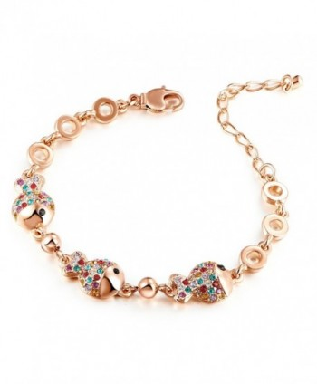 "HuiSheng 7 Inch Colorful Fish-shaped Crystal Female Bracelet with Swarovski Crystal ""Clownfish"" - Gold - CL186A35YCM"
