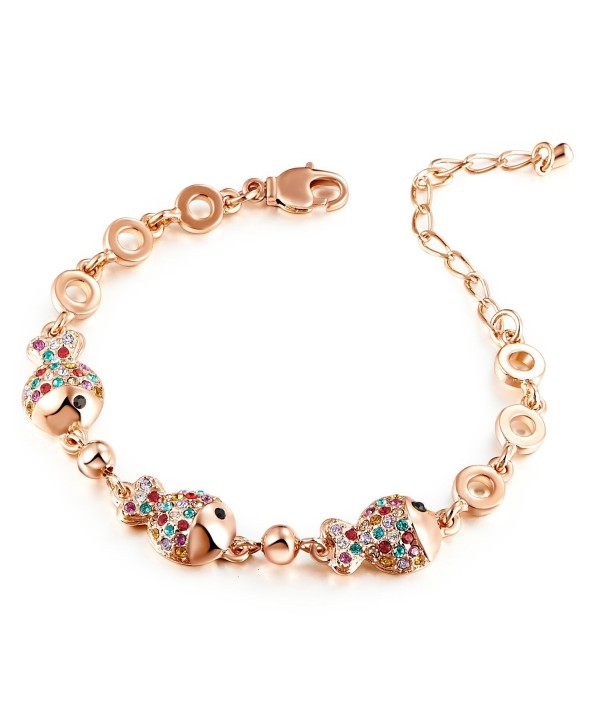 """HuiSheng 7 Inch Colorful Fish-shaped Crystal Female Bracelet with Swarovski Crystal """"Clownfish"""" - Gold - CL186A35YCM"""