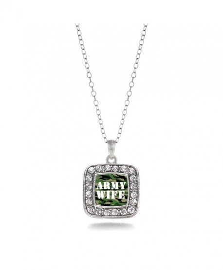 Army Wife Soldier Spouse charm Classic Silver Plated Square Crystal Necklace. - CU11MCHVRIZ