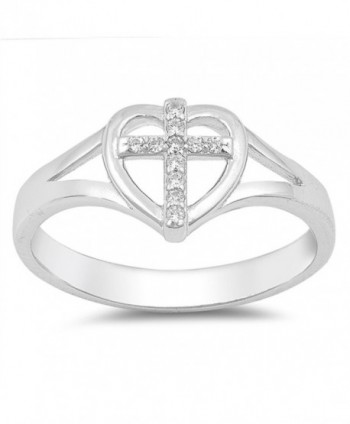 Clear CZ Cross Heart Christian Love Ring .925 Sterling Silver Band Sizes 4-10 - CQ185CMULCX