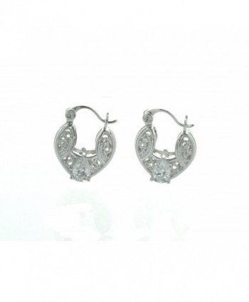 "0.50"" Inch Silver Tone Filigree Basket Design Hoop Earrings with Pear Shaped Simulated Diamond - CC128ZCFNDZ"