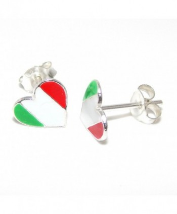 "Pro Jewelry .925 Sterling Silver ""Italian Flag Heart"" Stud Earrings for Women & Children EES APS 1113 - CC11KGCBVAL"