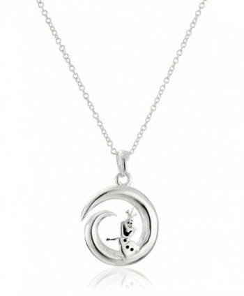 """Disney Sterling Silver Open Circle Some People Are Worth Melting For with Olaf Pendant Necklace- 18"""" - C311V23PST9"""