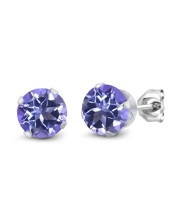 Sterling Silver Round Purple Blue Mystic Topaz Women's Stud Earrings (2.00 cttw- 6MM) - CP117N3A43V