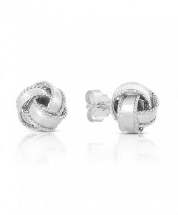 Sterling Silver Roped Edge Love Knot Stud Earrings - CM12M0TNAVF