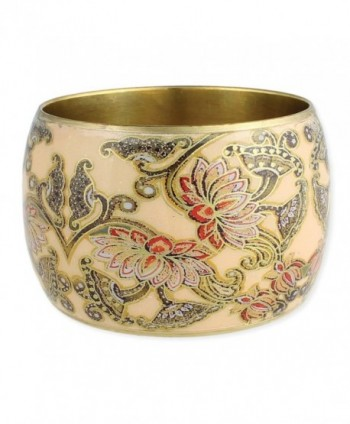 "ZAD Neutral Floral Wide Bangle Bracelet- 2"" inches tall (w/ Gift Box) - CG12CL0IGCR"