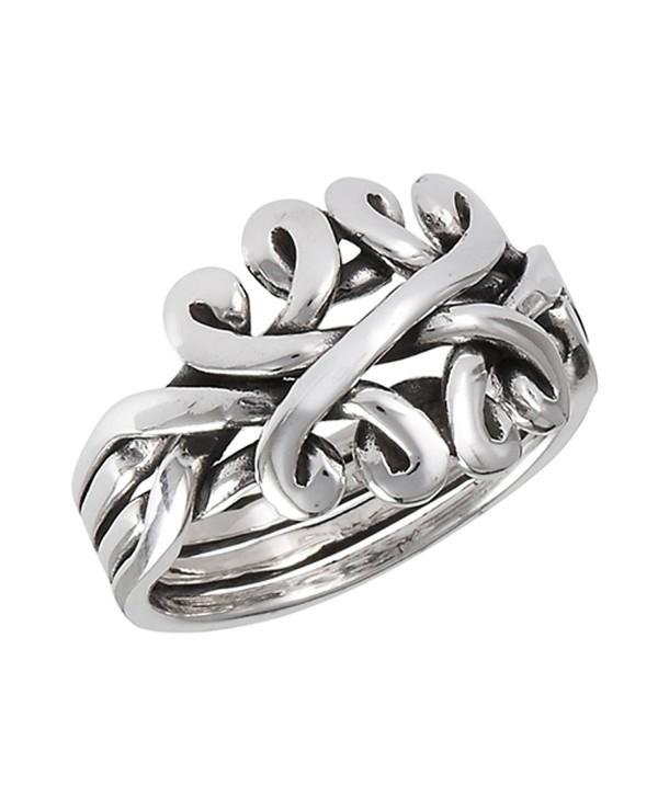 Sterling Silver Women's Oxidized Celtic Knot Puzzle Band Ring (Sizes 6 - 10) - CA182A3Y4OY
