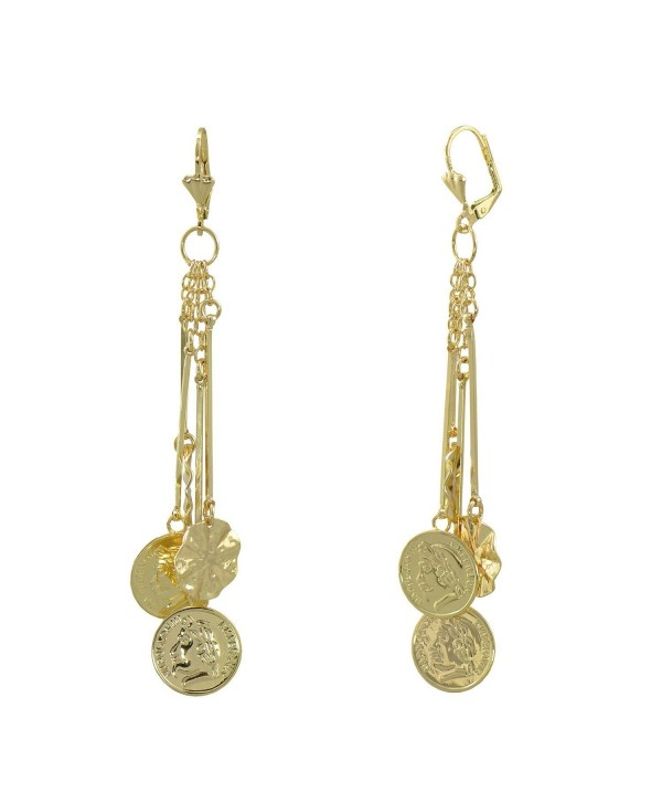 Yellow Gold Plated Long Dangle Round Coin Leverback Earrings - CL17YU7QIE7
