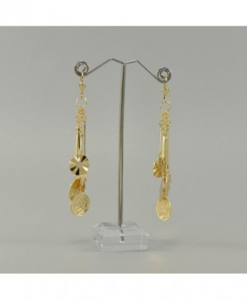 Yellow Plated Dangle Leverback Earrings