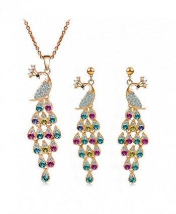 truecharm Colorful Crystal Peacock Jewelry Sets Necklace Earrings Bracelet Sets - Earrings+Necklace - C0186QNHIDD