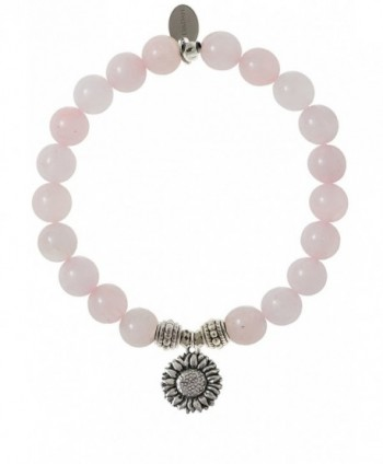 EvaDane Natural Rose Quartz Gemstone Rope Bead Sunflower Charm Stretch Bracelet - CA12DR21IZ5