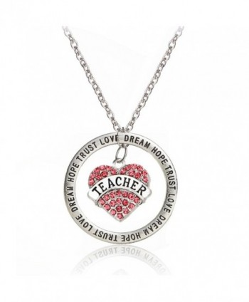Teacher Gift Back to School Graduation Pendant Necklace - Trust Love Hope Dream - Pink Charm Heart - CT12DIFOTE3