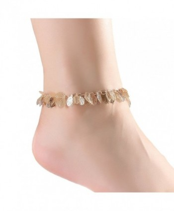 Boderier Brass Leaf Ankle Bracelet Chain Outdoor Barefoot Anklet Jewelry For Women - Gold - CQ184QZ2UN7