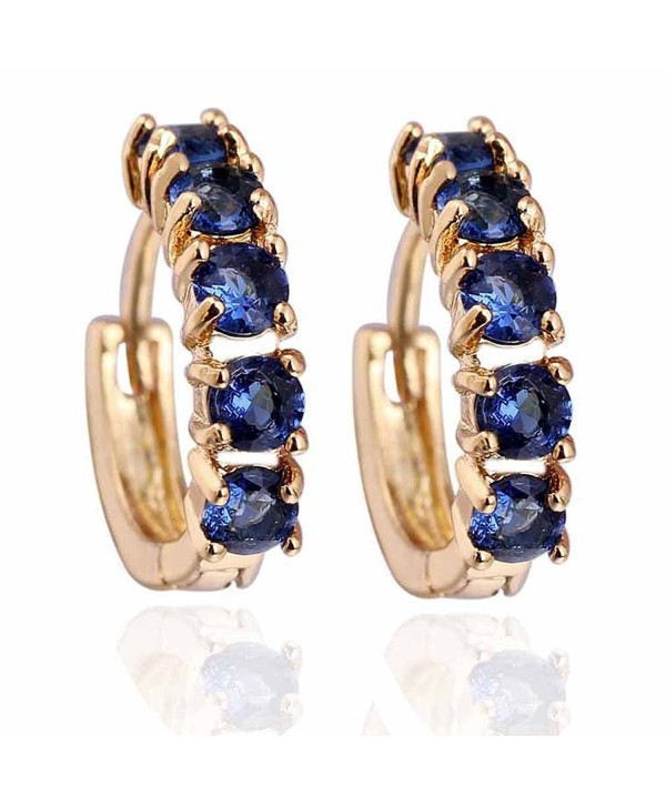 Yazilind Charming Smooth 18k Gold Plated Simple Style Inlay Round Cubic Zirconia Small Hoop Earrings - Dark Green - CY11METVJKR