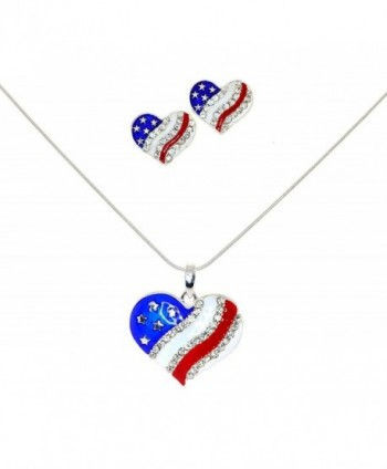 4th of July Independence Day American Flag Heart Pendant Necklace & Earrings Set - CJ11D8WQWBP