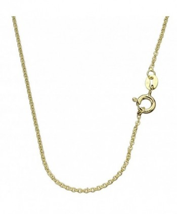 """18k Gold-Flashed Sterling Silver 1.3mm Fine Cable Nickel Free Chain Necklace Italy 14"""" - 24"""" - CL11JK6J9TZ"""