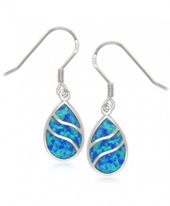 Beaux Bijoux 925 Sterling Silver Created Blue Opal or Abalone Wave Design Teardrop Earrings - blue opal - CX121NPI36Z