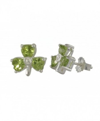 Shamrock Earrings Studs Sterling Silver & Peridot Irish Made - CI17XSU9GI2