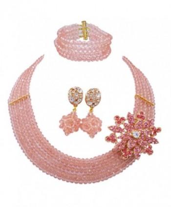 laanc New Season Popular Necklace 5 Rows Peach Nigerian Wedding African Beads Jewelry Set A-032Q - CA12O1APJ3V