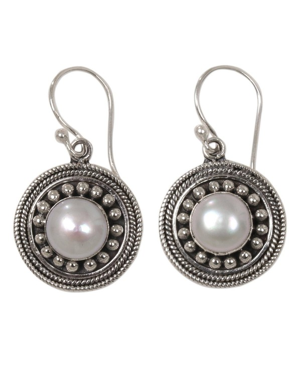 NOVICA White Cultured Mabe Pearl .925 Sterling Silver Dangle Earrings- 'Moonlight Dance' - C017YUD0E3R