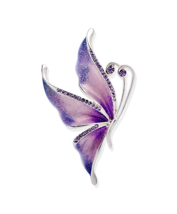 Silver Plated Butterfly Swarovski Crystal Rhinestones Enamel Paint Brooch Pin Jewelry for Women Girls - C8185ANE852