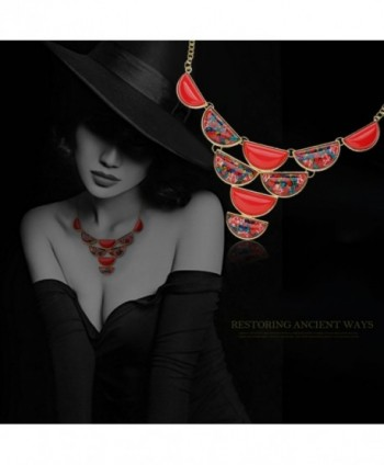 Elegant Colorful Butterfly Necklace Earrings - vintage Red - C0124CCQMMX