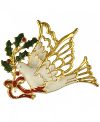 CRYSTAL CHRISTMAS DOVE MISTLETOE PIN BROOCH PENDANT MADE WITH SWAROVSKI ELEMENTS - C312O9XURLR