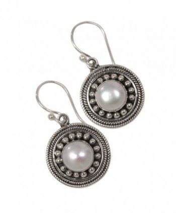 NOVICA Cultured Sterling Earrings Moonlight in Women's Drop & Dangle Earrings