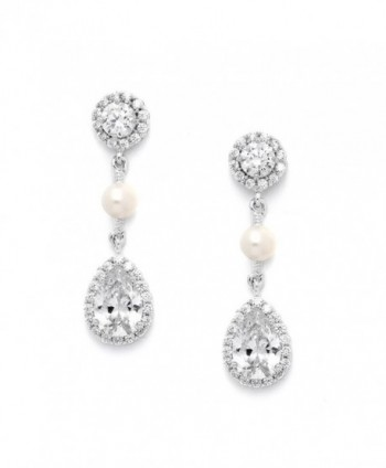 Mariell Handmade Genuine Freshwater Pearl Bridal Wedding Earrings with Round CZ Halos and Pear-Shaped Teardrops - CC127WOZHQP