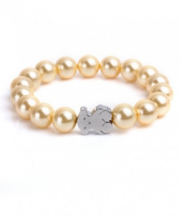 URs Women's Rose Golden Pearls Strand Bracelet with Stainless Steel Teddy Bear - Silver - C212FI2QVJP