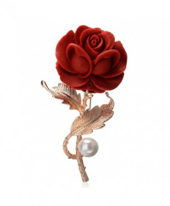 Star Jewelry Gold Plated Red Rose Brooches and Pins Lover Valentine's Day Gifts - C317YEQECKZ