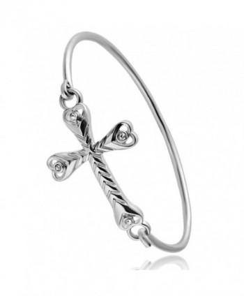 CHUANGYUN Rhinestone Heart Cross Bracelet Bangle Easy Open Bangle God Bless You - Silver - C8182KE9MGZ