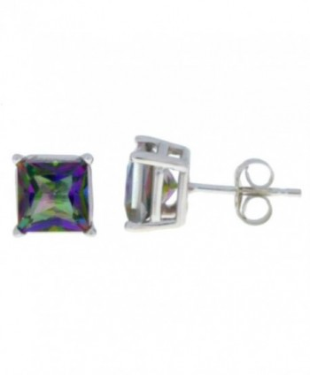 Natural Mystic Topaz Princess Cut Stud Earrings .925 Sterling Silver Rhodium Finish - C511C8RXSM7