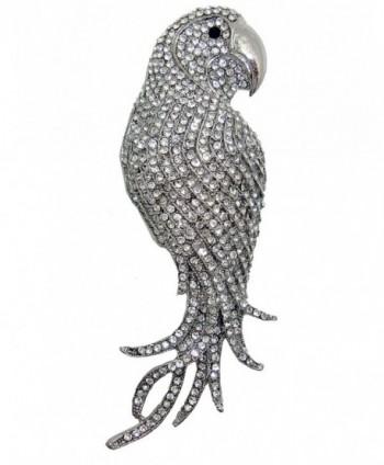 "TTjewelry 4.45"" Vintage Elegant Parrot Rhinestone Crystal Brooch Pin Bird Pendant - White - C612557U7MZ"