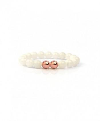Shinus Semi Precious Handmade Stretch Bracelet - White Jade-2Rose Gold - CC12MCCK6LD