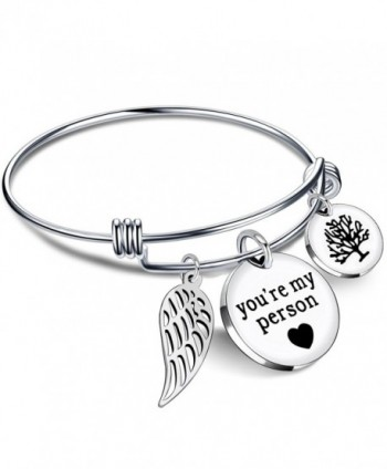 Bracelets for Women BBF Bangle You are my person Wing Pearls Pendant Best Friends Gift Stainless Steel - CT185UD4LRA