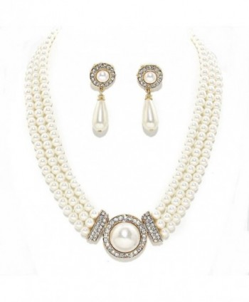 Simple Statement Multi Layered Strands Cream Pearl Crystal Elegant Necklace Earrings Set Gift Bijoux - CX12D5TVTSL