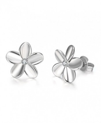 ImSky Earrings Sets for Women Flower Shaped Ear Studs White Gold Plated Jewellery - CQ180O7IYU4