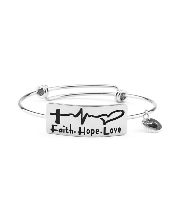 Expandable Bangle Personalized Bracelet for Women Gifts Electrocardiogram Faith Hope Love Encourage - Silver - C0187ZTKL0X