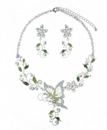 Floral Vine Design Butterfly Pendant Casting Necklace & Earrings Jewelry Set - Aurora Borealis/Silver stone - CH11Z4S5Z3R