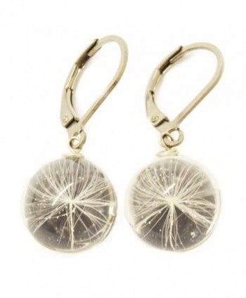Make a Wish Globe Earrings with Dandelion Seed- Handmade Fashion Art Jewelry - CX184S4TQY3